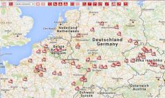 Systém Optifleet poskytuje i přehled o poloze všech firemních trucků vrámci celé Evropy