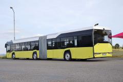 V tříčtvrtečním pohledu nejlépe vynikne neotřelý design New Solaris, který bude do budoucna k dispozici pro všechny řady autobusů značky
