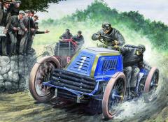 Henri Fournier svozem Mors vostrém souboji sMauricem Farmanem naPanhard et Lavassoru natrati první etapy závodu Paříž – Vídeň 1902.