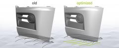 Schéma ukazující drobnou optimalizaci proudění vzduchu kolem masky vozidla