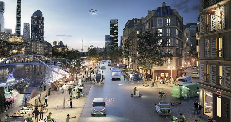 Schéma budoucnosti elektronicky řízené bezpečnosti dopravy