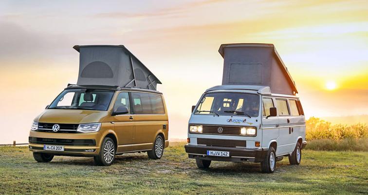 VW California vpravo na podvozku T3, vlevo T6