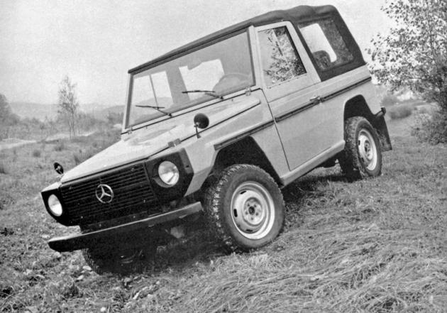 Mercedes-Benz třídy G vkrátkém provedení při zkouškách vroce 1975