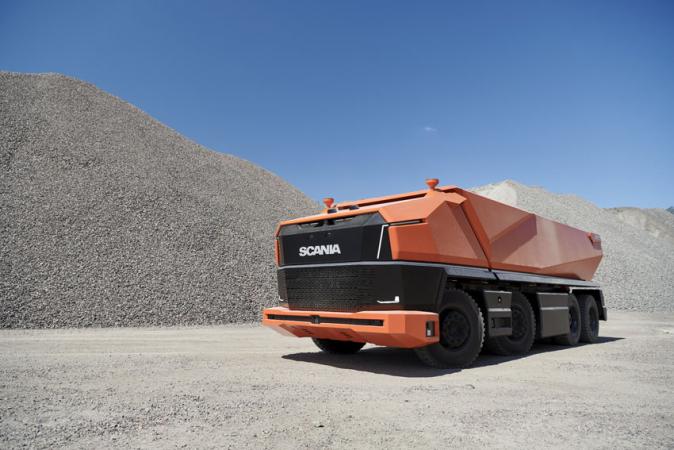 Bezhlavá Scania pro stavební průmysl.