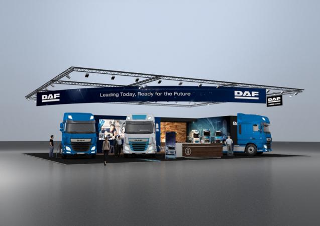 Expozice společnosti DAF na veletrhu Solutrans ve francouzském Lyonu se rozkládá na ploše 450 m2 a jsou v ní vystavena tři nákladní vozidla.
