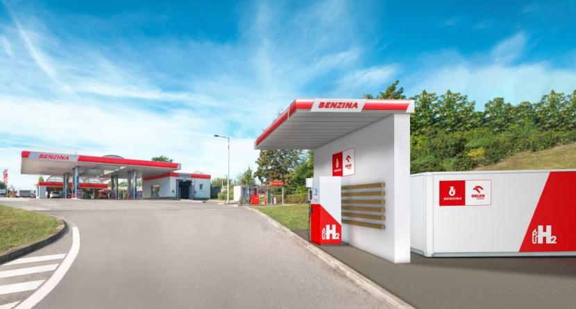 Vizualizace vodíkové čerpací stanice na Barrandově