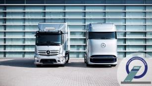 Mercedes-Benz eActros a Mercedes-Benz GenH2 Truck